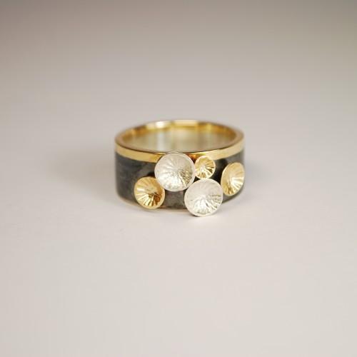 """Sidabro žiedas su auksu iš kolekcijos """"Pienių laukas""""."""