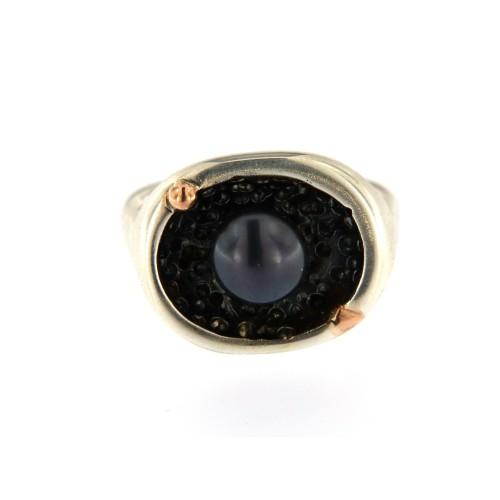 Žiedas ,,Jūra naktyje'' (Perlas, Auksas 585, Sidabras 925 )